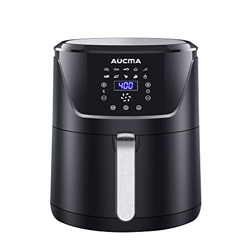 Aucma Heißluftfritteuse 4L Friteuse Heissluft Fritteusen Air Fryer mit Digitalem LED-Touchscreen,Vorheizen&Warmhalten,Frittieren ohne Öl, leicht zu reinigen, Gesunder Herd mit Antihaftkorb,1400W