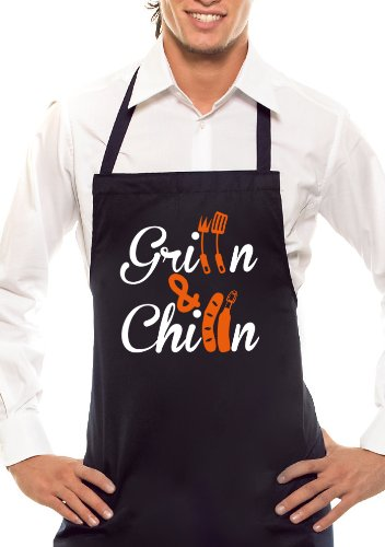 Comedy Grill Gillen & chillen-Bicolore-Tablier Noir/Orange/Blanc