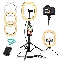 Photo Gallery magicfun luce ad anello led, 10   luce per selfie con treppiede & telecomando, 3 colori e 10 livelli di luminosità, ring light per youtube/tiktok/live/vlog/trucco