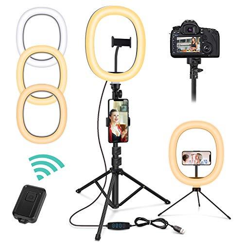 Magicfun Anillo de Luz con Trípode, 10 Pulgadas LED Selfie Ring...