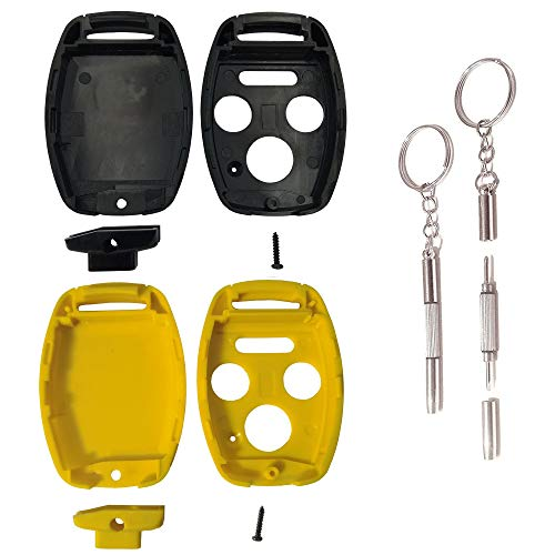 Key Shell Replacement for Honda 4 Buttons Keyless Entry Smart Remote Control Car Key Fob Shell with Multi-Function Screwdriver Fit for Honda Accord Civic EX Pilot (Honda 4 Buttons, Black+Yellow)