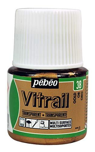 PEBEO Vitrail Efecto de vidriera Pintura para Cristal (45ml), Color Dorado