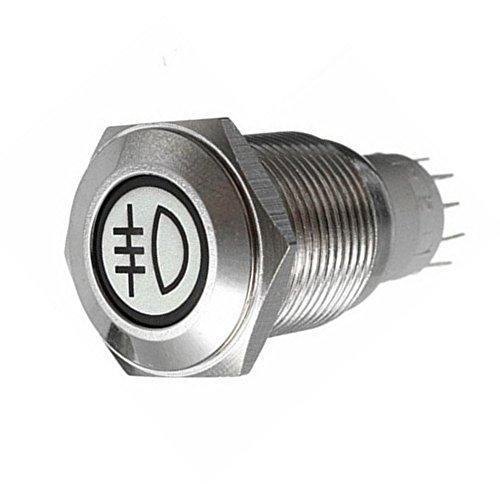 Supmico 16mm KFZ Kippschalter Wippschalter Schalter Drucktaster 12V Blau LED Licht Lampe Metall Nebelschlussleuchte