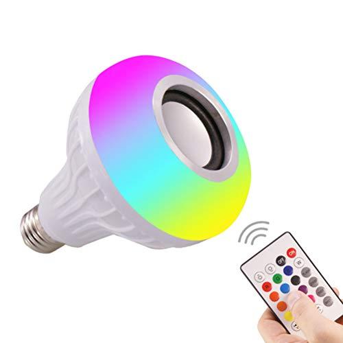 MAKTXL - Bombilla LED con altavoz Bluetooth RGB que cambia de color con audio estéreo inalámbrico con mando a distancia de 6 W