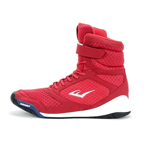 Everlast New Elite High Top Boxing Shoes - Black, Blue, Red (Red, 10)