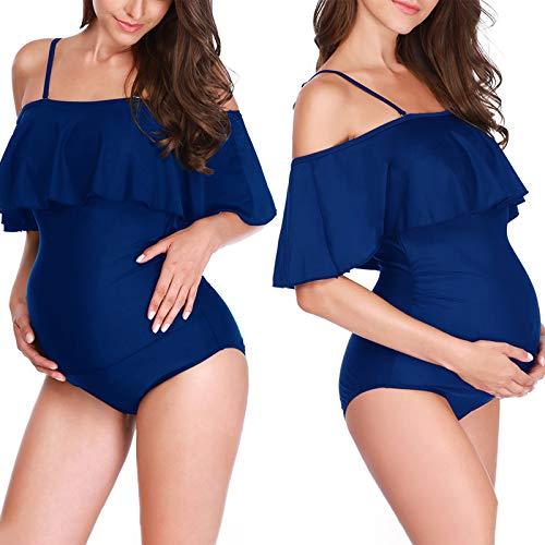 Haokaini Badeanzüge für Schwangere Badebekleidung Maternity Einteiliger Badeanzug Damen Rüschen Schulterfrei Bikini (Blau,XXL)