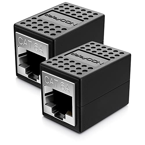 deleyCON 2x CAT6a Kupplung Verbinder Netzwerkkabel Patchkabel Ethernet Kabel Adapter Modular Geschirmt 2x RJ45 Buchse 10Gbit/s DSL LAN RJ45 Schwarz