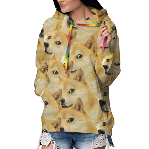 Solardream Damen Kapuzenpullover Mr Doge Meme Bedruckt Langarm Kordelzug Sweatshirt mit Tasche Schwarz