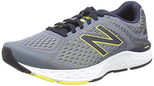 New Balance Tênis de corrida masculino 680v6 com amortecimento, Cinza/preto/limão, 11 X-Wide