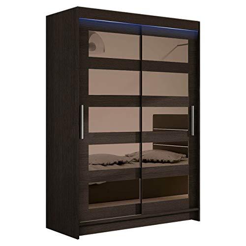 Kleiderschrank Schwebetürenschrank Miami IV mit Spiegel, Modernes Schlafzimmerschrank, Schiebetürenschrank, Garderobe, Schlafzimmer (Choco, mit RGB LED Beleuchtung)