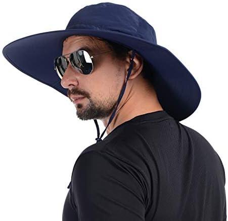 USHAKE Foldable Super Wide Brim Fishing Hat Bucket Safari Hat UPF 50 Sun Hat Navy Blue product image