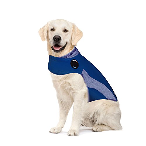 ThunderShirt Polo Dog Anxiety Jacket | Vet Recommended Calming Solution Vest for Fireworks, Thunder, Travel, & Separation | Blue, XL