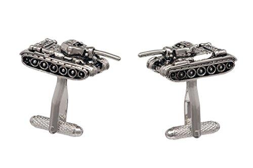 Tank Design Cufflinks in Gift Box Army Military - Onyx-Art London CK659, Silver, 1