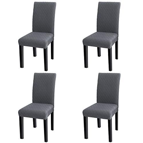 YISUN Universal Stretch Stuhlhussen 4er 6er Set Stuhlbezug für Stuhl Esszimmer (4er Set, Grau)