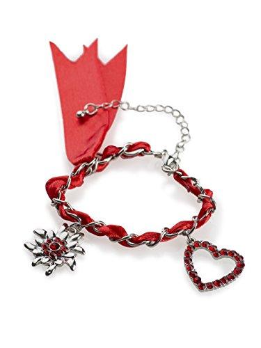 Trachten Armband Wiesn-Schweif - mit Herz und Edelweis Charm Anhänger - Armkette für Dirndl und Lederhose (Rot)