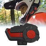 Smosyo Intercomunicador con Auricular Bluetooth para Motocicleta Casco de Motocicleta HY-01 e intercomunicador Bluetooth Walkie Talkie con 1000m, GPS, Radio FM, Reproductor MP3