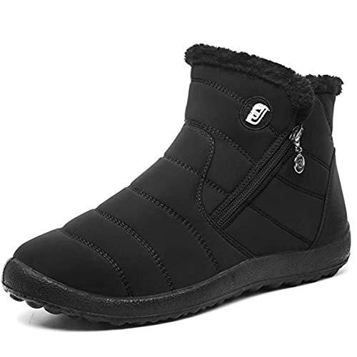 JOINFREE Schnee Zip Stiefel Damen Outdoor Wandern Warme Schuhe für Skifahren Kalt-Wetter Schwarz, 39 EU