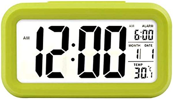 Battery Digital Alarm Clock Student Clock Large LCD Display Snooze Kids Clock Light Sensor Nightlight Office Table Clock With Time Temperature Date Green