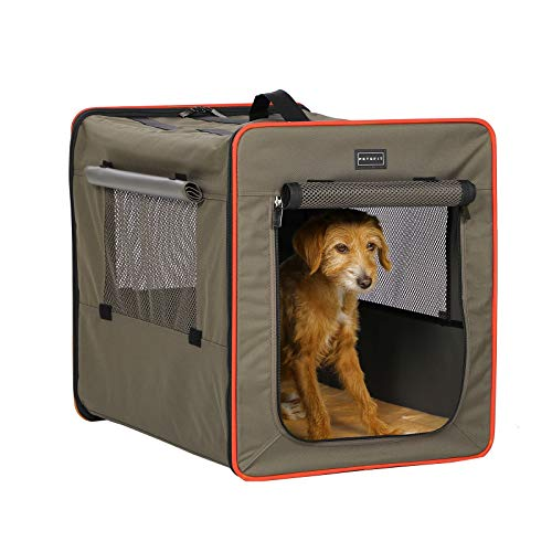 Petsfit 折りたたみ 犬用ソフトクレート ペットハウス 猫 ポータブルケージ 持ち手付き グレー/ブラウン