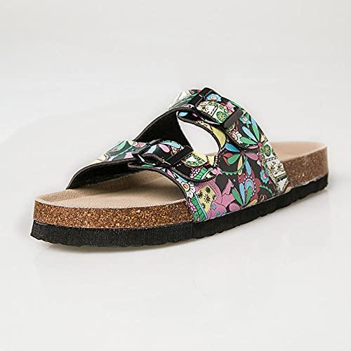 COQUI Open Toe Sandals men,Summer trend flashes parent-child children ladies double buckle word drag soft wood slippers sandals-Black color_41