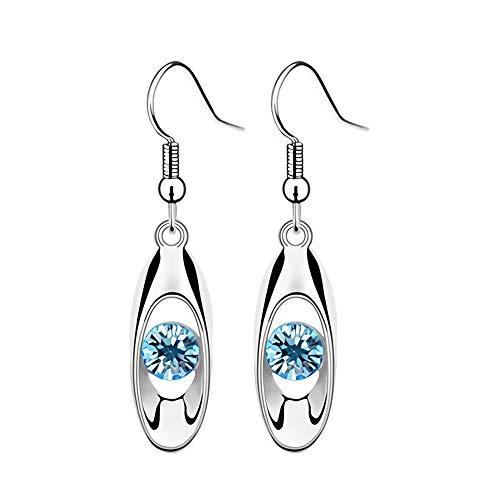 Yosemite - Pendientes para Mujer, diseño de Gota de Agua con Diamantes de imitación, Color Azul Claro