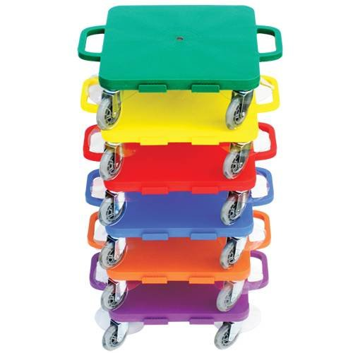 Cosom Scooter Board Set, 16 Inch Premium Sit & Scoot Board with 4 Inch Non-Marring Performance Wheels, Double Race Bearings, Safety Handles, Physical Education Class Equipment, Assorted Colors