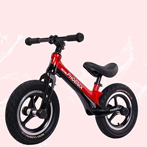 Seguridad Bicicleta sin Pedales para Niños Bicicleta de Equilibrio Aleación de magnesio Balance Bike con Sillín Ajustable, Black Red