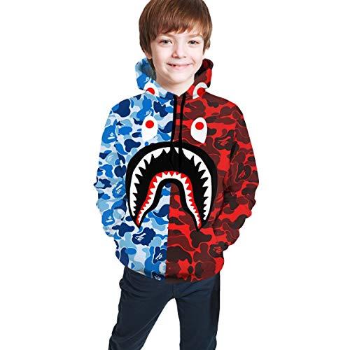 Children Hoodie Sweatshirt Fashion 3D Print Hooded Blue Red Bape Blood Shark for Boys Girls 7-20 Years