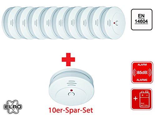 10er Set Elro RM144C optischer Rauchmelder, 85dB, Funktionstest, RM144C-10
