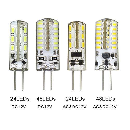 Hxfang Lámpara 1pcs 3W 6W LED G4 bóveda del coche de Lectura de CA CC 12V 3014 SMD 24LEDs 48LEDs luz auto del tronco Ahora caliente ( Color Temperature : 24LEDs DC 12V , Emitting Color : White )