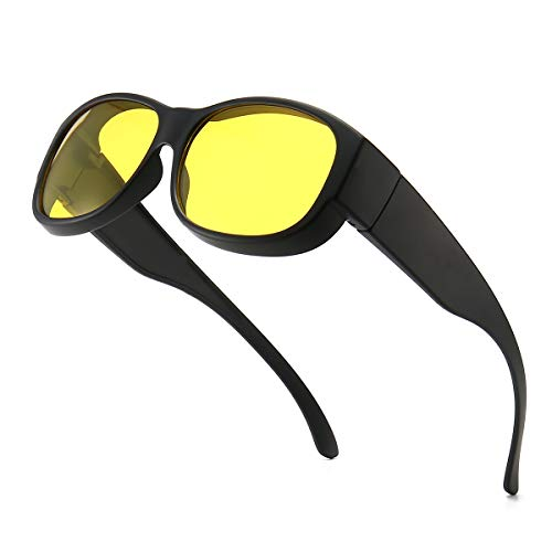 Dollger Night Driving Glasses Fits Over Prescription Eyewear Anti Glare Polarized HD Night Vision Glasses for Men Women