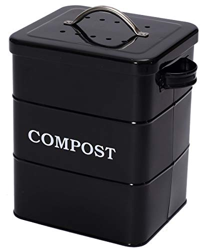 Xbopetda Stainless Steel Compost Bin for Kitchen Countertop,1 Gallon, includes Charcoal Filter,with Lid and handle,Composter for Zero Waste Recycling Kitchen Compost Bin, Compost Pail -Black