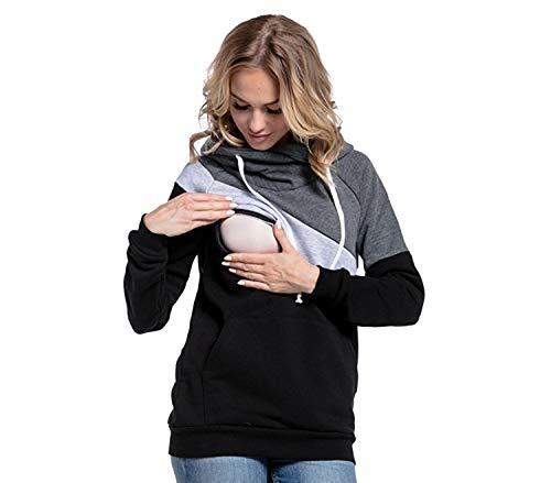 Sudaderas Lactancia Maternidad Sudadera Mujer Capucha Camisetas Premama Blusas de Embarazadas Camisas Lactancia Materna Blusas para Embarazadas Jovenes Ropa Lactancia Invierno Gris Oscuro L