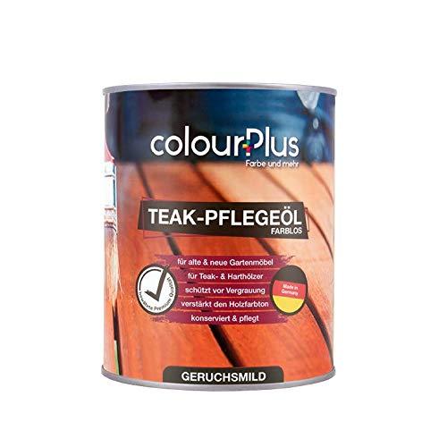 colourPlus® Teak Öl (1 Liter, farblos) Holzöl aussen - Holz Öl - Holzöl innen - Holzschutzöl außen - Hartholzöl - Made in Germany