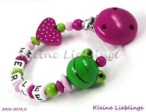 Schnullerkette mit Namen für Mädchen Frosch Herz - dunkelpink, rosa, grün
