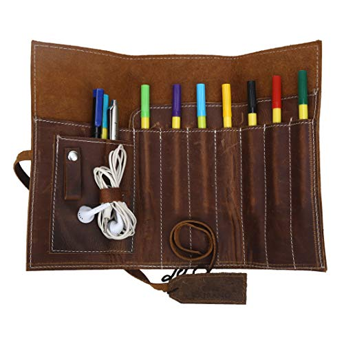 Leather Pencil Holder 20X9 cm - Rustic Brown - Rolled Pencil Case for...