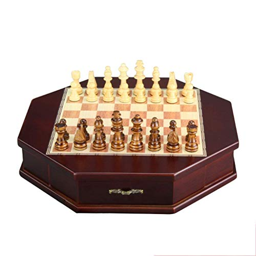 NOSSON Magnetic Wooden Chess Set, Travel Chess Board Pieces Storage Slots, Handmade Large Wooden Board Game for Kids and Adults(Intellectual Thinking Exercise)