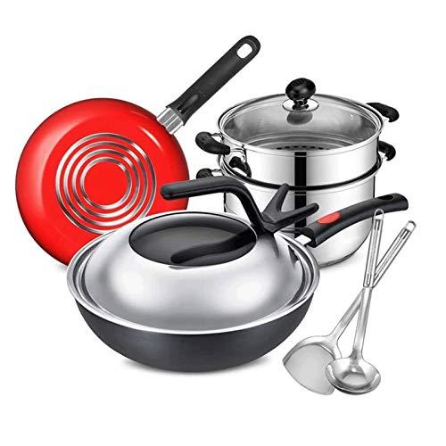 Batería de Cocina Antiadherente Conjunto de utensilios de cocina de 8 piezas de acero inoxidable Conjunto de utensilios de cocina antiadherente y sartenes con sartén para sartén y vaporizador