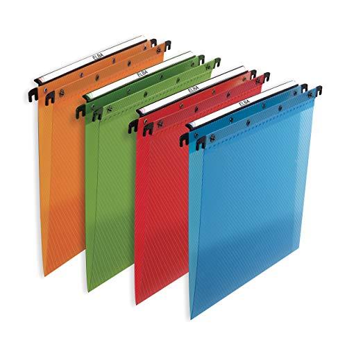 ELBA 100330406 Hängemappe Polypro Design 10er Pack für A4 4 Farben sortiert Schrank ideal für die lose Blatt-Ablage im Büro und der Behörde