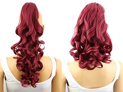 PRETTYSHOP 2 IN 1 Clip sur l'extension postiche Pièce de cheveux ondulé Look naturel fibres résistant à la chaleur Rouge # 118 H18-2