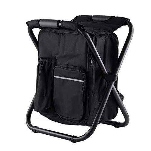Outdoor opvouwbare camping vissen stoel kruk, draagbare rugzak koeler, geïsoleerd picknick tas, wandelen zetel tafel zak, kruk tas, steun 150 kg,(black)