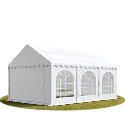 TOOLPORT Festzelt Partyzelt 4x6 m Premium, hochwertige ca. 500g/m² PVC Plane in weiß 100% wasserdicht mit Bodenrahmen