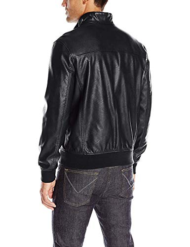 Tommy Hilfiger Men's Smooth Lamb Touch Faux Leather Unfilled Bomber, Black, L