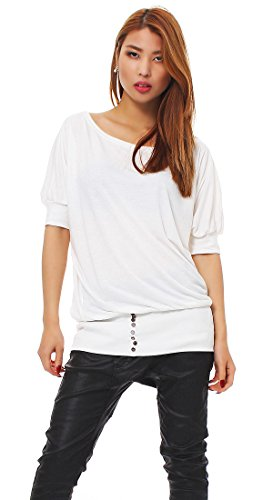 Mississhop 50-10 Japan Style Damen Bluse/T- Shirt mit offenen Schultern Weiß S