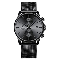 Men's Watch Fashion Sport Quartz Analog Mesh Stainless Steel Waterproof Chronograph Watches, Auto Date in Grey Hands, Color: Black