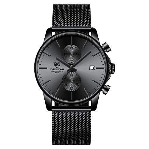 Reloj de Cuarzo analógico de Malla de Acero Inoxidable a Prueba de Agua con cronógrafo Minimalista de Moda para Hombre con Fecha automática