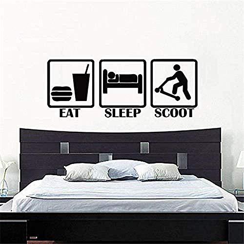 Muursticker DIY Eat Sleep Scoot kinderen kinderkamer scooter sticker muursticker afbeelding jongen muursticker muurschildering PVC wallpaper 120x46cm