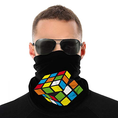 Rubiks Cube Seamless Face Bandanas Unisex Neck Gaiter Shield Headwear Uv Protection for Motorcycle Cycling Riding White