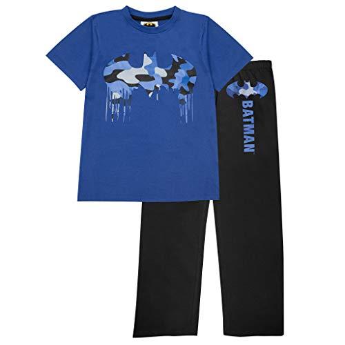 DC Comics Batman Camo Drip Logo Herren Lange Pyjamas Set Schwarz Blau 4XL | Dark Knight Superheld Nachtwäsche, Geburtstagsgeschenkidee für Männer