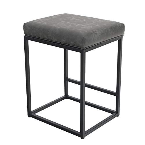 CAMPING WORLD Barhocker, Barstühle mit Fußstütze, Küchenstühle aus Pu-Leder, Rückenloser Barstuhl Hocker, Tresenhocker, Bistrohocker, für Innen Außen Esszimmer Hausbar, Kaffee Stühle in Grau